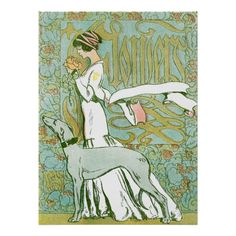 Art Nouveau Greyhound and Lady with Flower Print | Zazzle