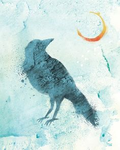 Raven Art Moon Print - Call of the Moon - 8x10 Print from Etsy Shop papermoth