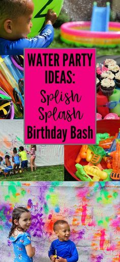 Water Party Ideas: Splish Splash Birthday Bash Water party ideas to throw a perfect summer birthday party with sprinklers, water games, kids' mural art. Includes free invitation and sign printables! Kids Water Party, Outside Birthday Parties, Water Games For Kids, 3rd Birthday Parties, Birthday Bash, Card Birthday, Birthday Greetings, Happy Birthday, Water Party Games