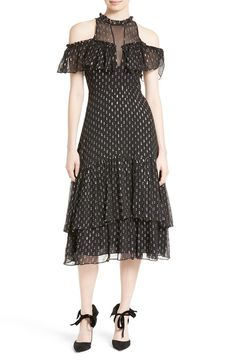 Rebecca Taylor Rebecca Taylor Metallic Clip Midi Dress available at #Nordstrom