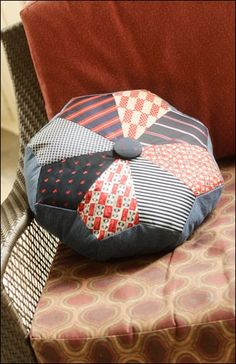 Dresden Pouf & Pillow – IJ943 sewing pattern from IndygoJunction.com - created using men's ties