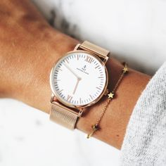 rosé gold mesh watch as the perfect companion for everyday | kapten-son.com