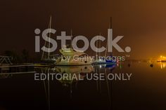 Water Ships in port at night royalty-free stock photo