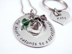 My Heart Belongs To A Firefighter Love Necklace  by Stampressions, $35.00