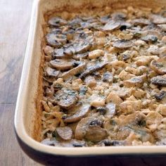 Marsala Chicken-and-Mushroom Casserole - This creamy mushroom-and-chicken casserole fits the bill for busy weeknights. Save time by making the recipe ahead of time and freezing it until you're ready to bake.