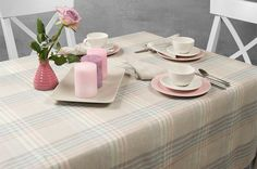 Linen tablecloth with multicoloured stripes