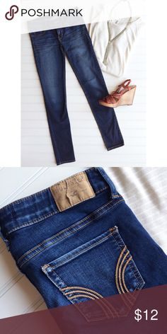 "Hollister Stretch Jegging Hollister Stretch Jegging | size 3 Short; cotton/viscose/poly | darker wash jogging with slight whiskering at hips | 5-pocket styling; zip fly | gold stitching on rear pockets . 13.5"" waist 15.5"" hips 7"" rise 28"" inseam Hollister Jeans Skinny"