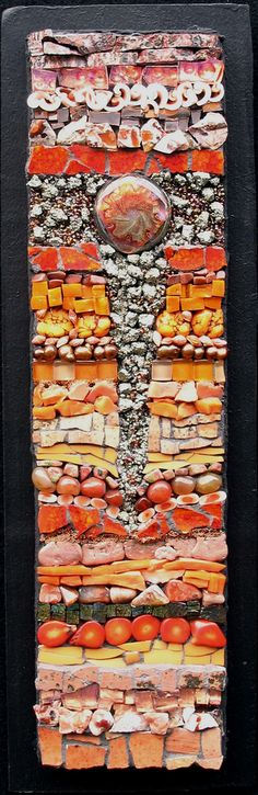"""15"""" x 5""""   Recycled pottery, glass, shells, semi precious stones.  Sold @ Sunrose Gallery, 606 Broadway Street, Seaside, OR 97138-6820"""