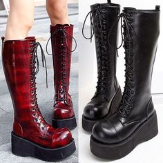Womens Lace Up Punk Rock Gothic Creeper Block Heel Knee High Knight Boots Shoes