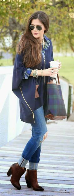 Fall Outfit - Navy Side Zip Poncho + Distressed Skinny Jeans + Plaid Style Handbag + Brown Booties.