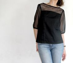 Mathilde blouse in cotton and sheer (Tilly and the buttons pattern via joliesbobines.wordpress.com)