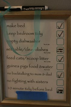 write on/wipe off chore charts. not sure I want to do this, but it is another idea