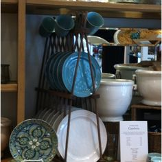 Dish display racks are great for tableware and mugs. Booth Design, Rack Design, Dish Display, Kitchenware, Tableware, Dish Racks, Antique Stores, Kitchen Organization, Pottery Barn