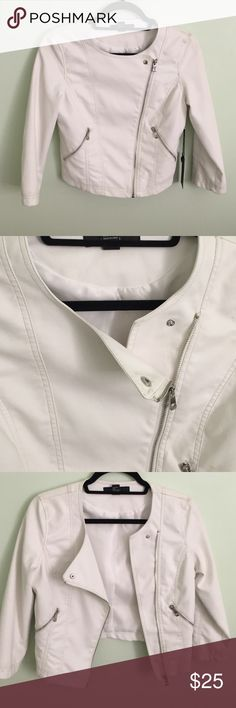Cute white leather jacket never worn before Not too thick, great for night wear and dates. Very simple, arms are a little tighter. It looks good with almost everything. Forever 21 Jackets & Coats