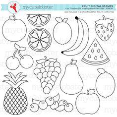 Fruit Digital Stamps food line art outlines stamps lemon Art Drawings For Kids, Drawing For Kids, Easy Drawings, Fruit Coloring Pages, Coloring Pages For Kids, Kids Coloring, Art And Illustration, Fruits Drawing, Art Anime