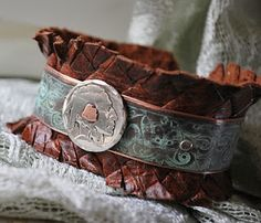 indian head nickel and etched copper and leather cuff bracelet - metalwork inspiration piece