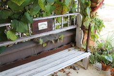 This Bench is Made from a Length of Spandrel, Parts from a Sideboard, Antique Chair Legs, a Vintage Dresser and a Beautiful Victorian Fireplace Tile Victorian Fireplace Tiles, Vintage Dressers, Antique Chairs, Porch Swing, Outdoor Furniture, Outdoor Decor, Sideboard, Bench, Legs
