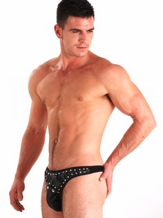 Black Leather Snap Off Studded Mens Jock Underwear