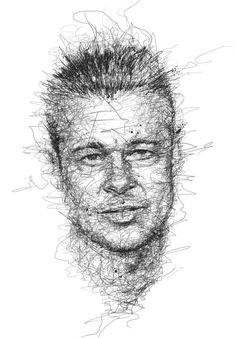 Vince Low Crée de Magnifiques Portraits de Célébrités à partir de Gribouillages au Crayon - Brad Pitt