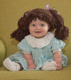 Cabbage Patch Costume, Cabbage Patch Hat, Cabbage Patch Babies, Baby Girl Halloween Costumes, Baby First Halloween, Halloween Wigs, Kids Wigs, Cute Baby Costumes, Crochet Costumes