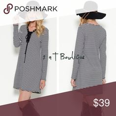 "🎉 SALE 🎉 Striped tunic dress Boho striped tunic dress. Color: black/white Available in size S(2-4), M(6/8), L(10-12). TK1325232. 95% polyester 5% spandex. LENGTH: S-33"", M-34"", L-35"". BUST: S-17.5"", M-18.5"", L-19.5"". Measured laying flat from armpit to armpit before stretch. Price is firm unless bundled. 2 a T Boutique  Dresses"