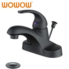 WOWOW Bathroom Faucet One Handle 4 inch Centerset with Lift Rod Drain Black - Modern Matte Black Bathroom Faucet, Single Handle Bathroom Faucet, Lavatory Faucet, Bathroom Faucets, Black Shower, Bronze Finish, Amazon, Master Bath, Basement