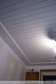 Best Cheap Basement Ceiling Ideas in 2018 Basement Ceiling Ideas exposed, low ceiling, basement make over Wood Plank Ceiling, Shiplap Ceiling, Ceiling Trim, Home Ceiling, Wood Ceilings, Wood Planks, Ceiling Design, Bedroom Ceiling, Shiplap Paneling