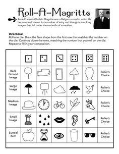 Leuk Roll A Magritte For The Classroom Art Worksheets Artist High School Art, Middle School Art, Documents D'art, Classe D'art, Art Sub Plans, Art Handouts, Art Worksheets, Ecole Art, Drawing Games