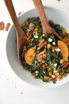 Kale, Peach and Pecan Salad! Topped with Freekah, Crispy Tempeh, Goat Cheese & Maple-Dijon Dressing. #vegetarian #healthy #salad #kale | www.delishknowledge.com