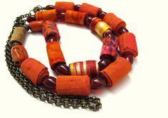 Wearable art tangerine fiber necklace by Gilgulim on Etsy, $68.00