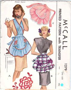 vintage apron sewing pattern