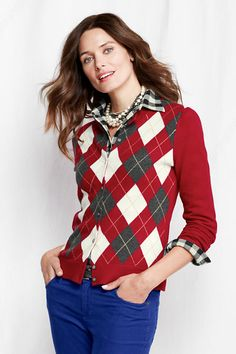 Women's Long Sleeve Cashmere Argyle Cardigan from Lands' End