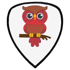 """red owl. Shield Sublimatable Patch with Adhesive & Black Border (3"""" x 3 1/2""""), made in polyester. This funny accessory is perfect for any use. Buy 6 and get 20% OFF!.. Owl Kids, Red Owl, Adhesive, Patches, Amp, Funny, Artist, Accessories, Black"""