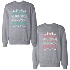 365Printing BFF Matching Sweatshirts Cute Pullover Fleece For Best... ($41) ❤ liked on Polyvore featuring tops, hoodies, sweatshirts, fleece tops, sweater pullover, fleece pullover, pullover sweatshirt and pullover tops