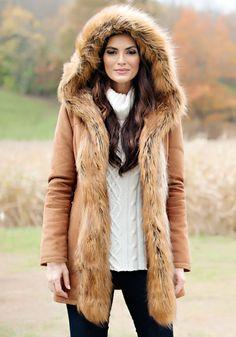Tobacco Faux Suede & Fur Full-Length Coat | Faux Fur | Pinterest ...