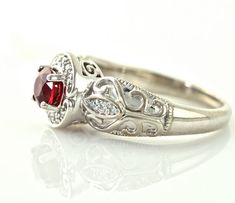14K Vintage Ruby Ring Diamond Halo Ruby Engagement by RareEarth, $2369.00