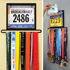 Display your collection of race bibs and running medals as a work of art with the BibFOLIO+™ race bib and medal display from Gone For a Run. This running display holds up to 24 race medals and 100 race bibs. Race Bib Display, Race Medal Displays, Display Wall, Trophy Display, Award Display, Display Ideas, Hanging Medals, Running Bibs, Running Race
