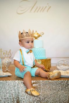 Prince First Birthday Crown Boy - Adeline - Birthday Crown - Full Size - Photography Prop - Unisex - Cake Smash - Prince Charming Prince Birthday Theme, 1st Birthday Boy Themes, First Birthday Crown, King Birthday, Baby Boy First Birthday, Boy Birthday Parties, Birthday Party Decorations, Birthday Ideas, Foto Baby