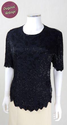 6395791641543 1980s Designer Vintage Laurence Kazar Black Sequin Top
