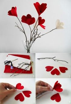 Excellent diy flowers info are offered on our site. Take a look and you wont be sorry you did. Diy Home Crafts, Diy Arts And Crafts, Craft Stick Crafts, Felt Crafts, Tissue Paper Flowers, Felt Flowers, Diy Flowers, Fabric Flowers, Valentines Day Decorations