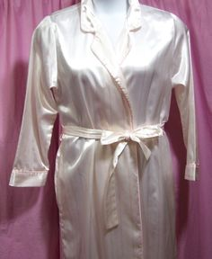 009ae7ccb Brushed Back Satin, Kimono Robe, Ivory Peach Stripe,Warm Cozy, Size M  Medium, Silvercord, Classic, Hospital Nursing Home