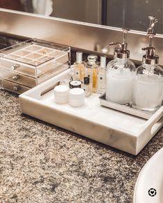 Target items for bathroom countertop organization- marble tray, liquid dispensers, cream containers, jewelry box Organize Bathroom Countertop, Bathroom Counter Organization, Bathroom Counter Decor, Bathroom Countertops, Bathroom Inspo, Bathroom Interior, Bathroom Ideas, Bathroom Vanity Tray, Light Bathroom