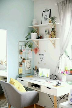 White + pastels + plants