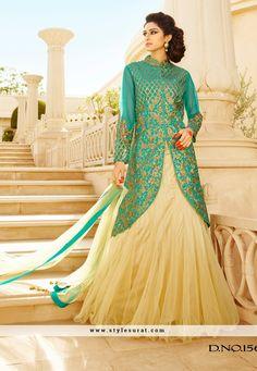 Art Silk And Net Fabric Sea green Color Designer Stylish Indo Western Style Lehenga Choli-SD-1568