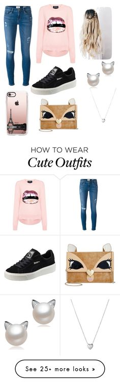 """Cute outfit of the day"" by thalisha1155 on Polyvore featuring Frame Denim, Markus Lupfer, Puma, Betsey Johnson, Links of London and Casetify"