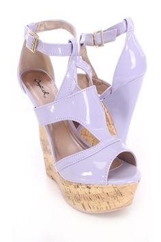 Rev your style up with these simple yet edgy wedges! This style goes great with your fave skinnies, a chic crop top and finish with a spike necklace. Featuring patent faux leather upper, peep toe, cutout front, ankle strap with side zipper closure, cork platform, stitched detailing, and finished with a cushioned footbed. Approximately 5 1/2 inch heel and 1 1/2 inch platform. Shoes Wedges Boots, Wedge Boots, Womens Shoes Wedges, Wedge Sandals, Spring Shoes, Summer Shoes, Dress Sandals, Dress Shoes, Spike Necklace