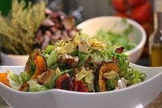 Ensalada de zapallo,lentejas , tomates y tofu