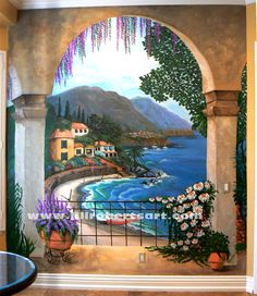 Full kitchen wall mural by Jill Roberts Art painted in a home in the Bear Creek area of Murrieta, CA.