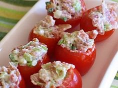 The BEST - Bacon stuffed cherry tomatoes. My favorite food of our family xmas eve party!