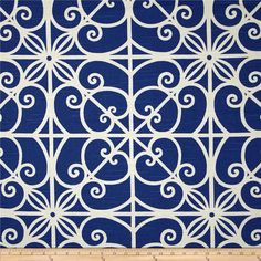 Home Accent Puerta Trellis Navy Blazer from @fabricdotcom  Screen printed on cotton slub duck (slub cloth has a linen appearance); this versatile medium weight fabric is perfect for window accents (draperies, valances, curtains and swags), accent pillows, duvet covers, upholstery and other home decor accents. Create handbags, tote bags, aprons and more. Colors include blue and white.